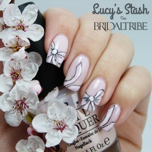 Bow nail art with OPI Don't Burst My Bubble LRG 2